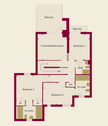 The Moorings Homes 1,3,4 & 6 First Floor Plans