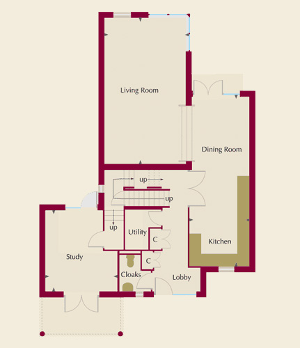 The Moorings Homes 1,3,4 & 6 Ground Floor Plans